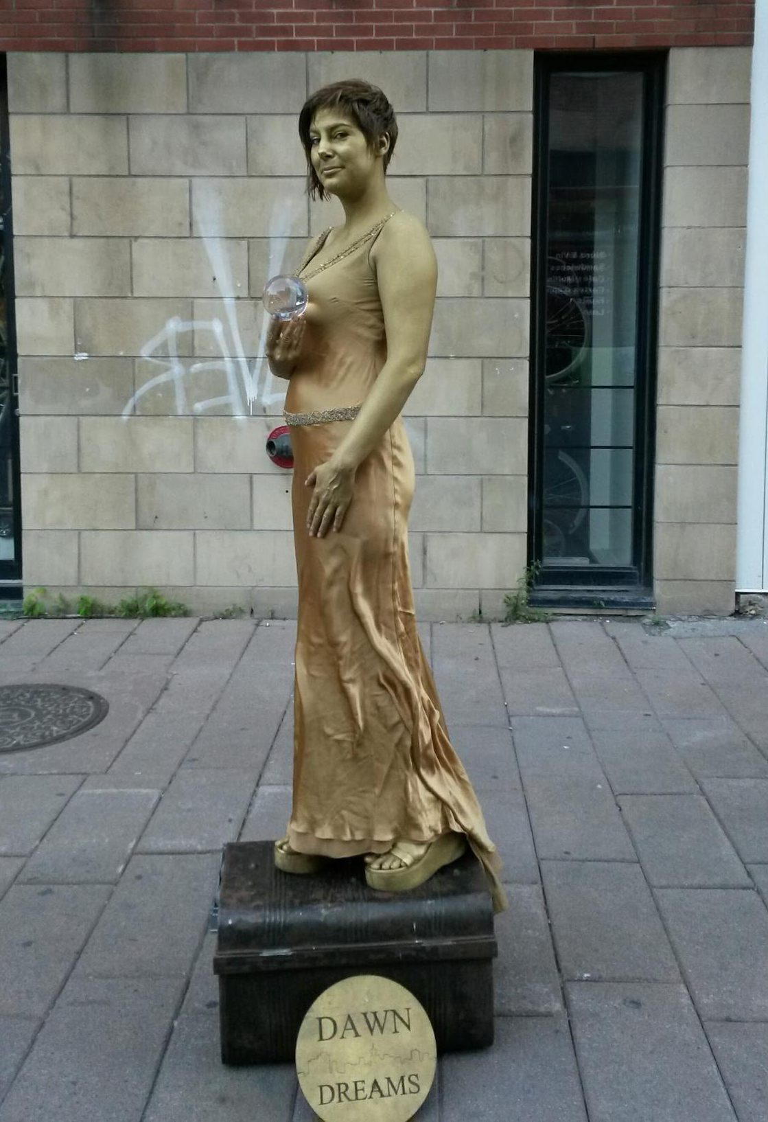 Gold Dress not painted. I really disliked the difference in colors between the two golds! Also that hair really needed to be gold without it ...  sc 1 st  The Busking Project & How to make a human statue costume for street performing