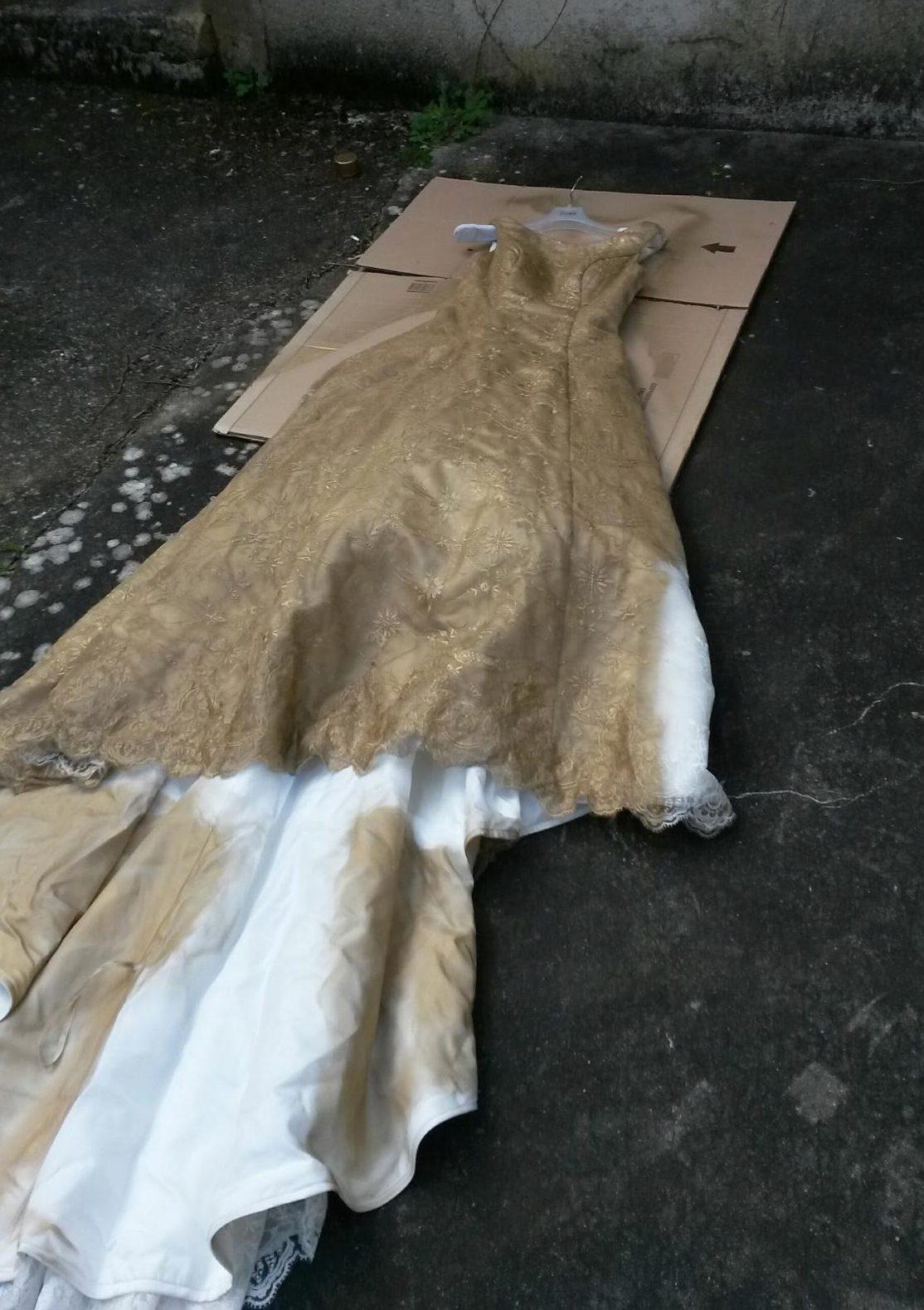dress partially sprayed