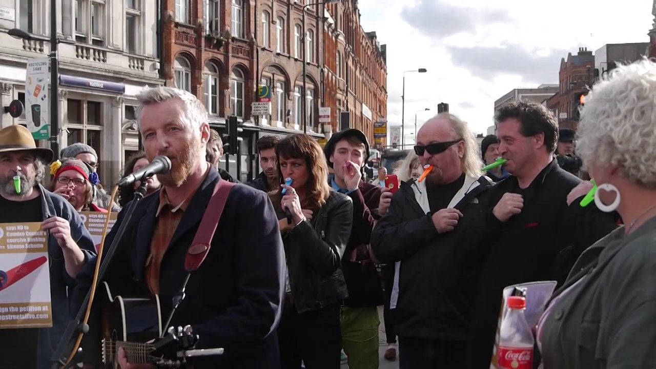 Billy Bragg, Bill Bailey and Mark Thomas protesting the proposed license by Camden Council