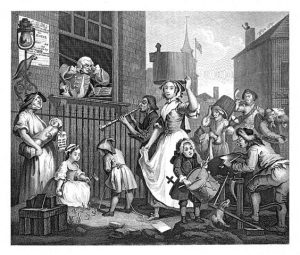 Hogarth's 1741 engraving about buskers The Enraged Musician.