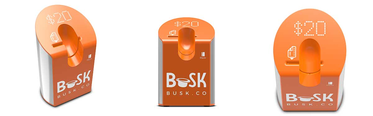 dipjar branded with the busk logo